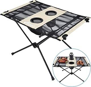 Geezo Lightweight Portable Foldable Camping Side Table with Cup Holders, Nylon Fabric Table Top and Aluminum Alloy Frame, Easy to Assemble and Clean, Compact and Durable(Unfolded: 22.4