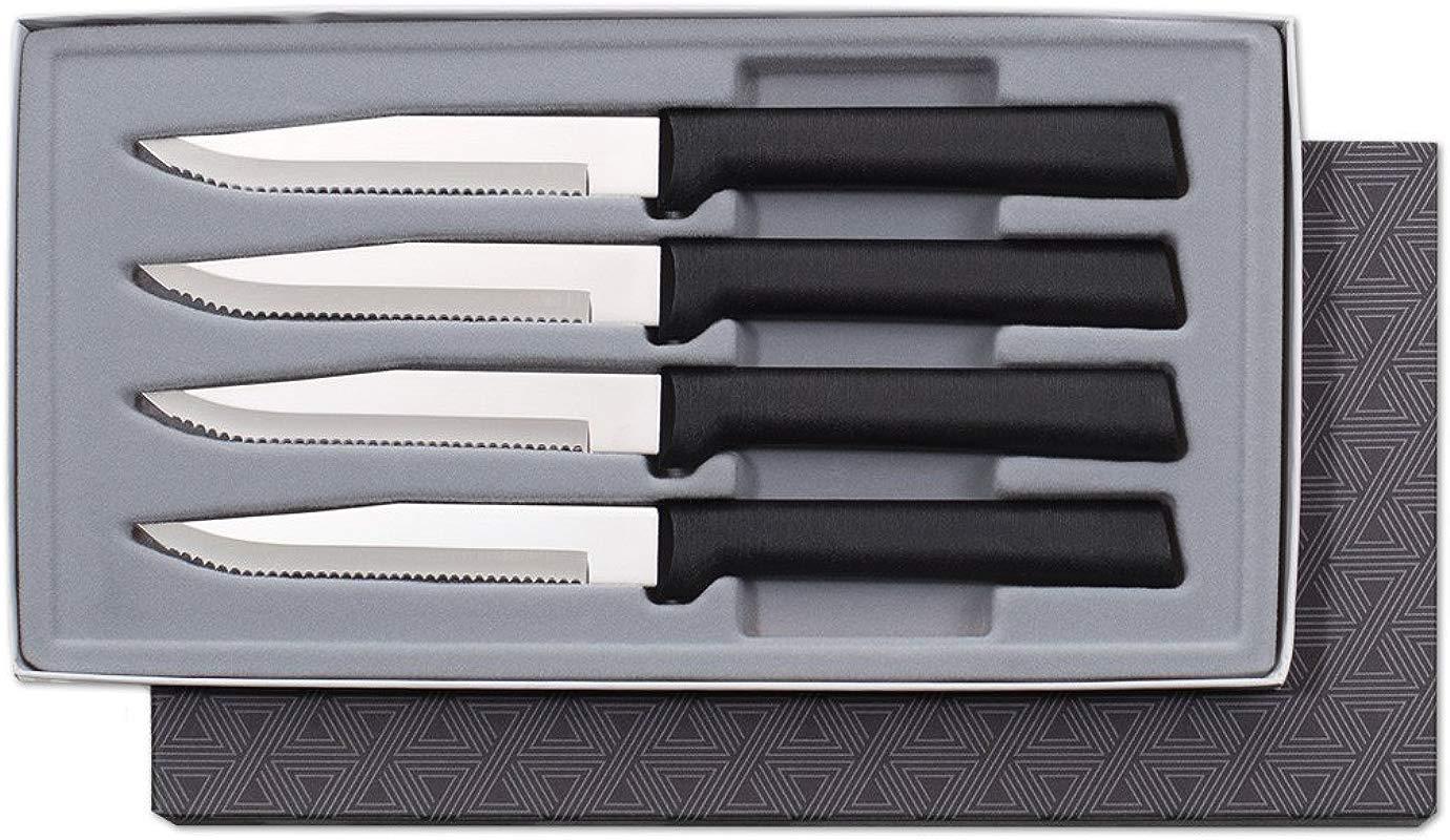 Rada Cutlery Serrated Steak Knife Set Stainless Steel Knives With Black Resin Steel Handles Set Of 4