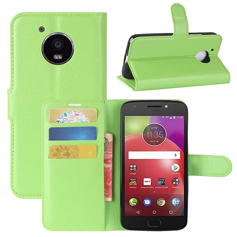 Moto E4 Case, Fettion Premium PU Leather Wallet Flip Phone Protective Case Cover with Card Slots and Magnetic Closure for Motorola Moto E4 / Moto E (4th Generation) Smartphone (Wallet - Green)