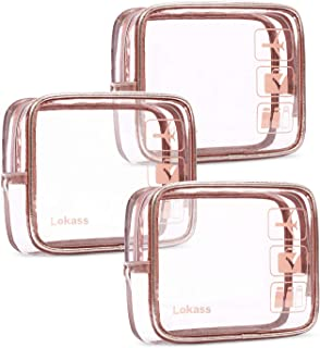 NiceEbag TSA Approved Toiletry Bag 3pcs Clear Travel Makeup Bag Set Transparent PVC Cosmetic Pouch Carry On Airport Airline Compliant Bag for Women Men Girls Boys, Quart Sized with Zipper, Rose Gold