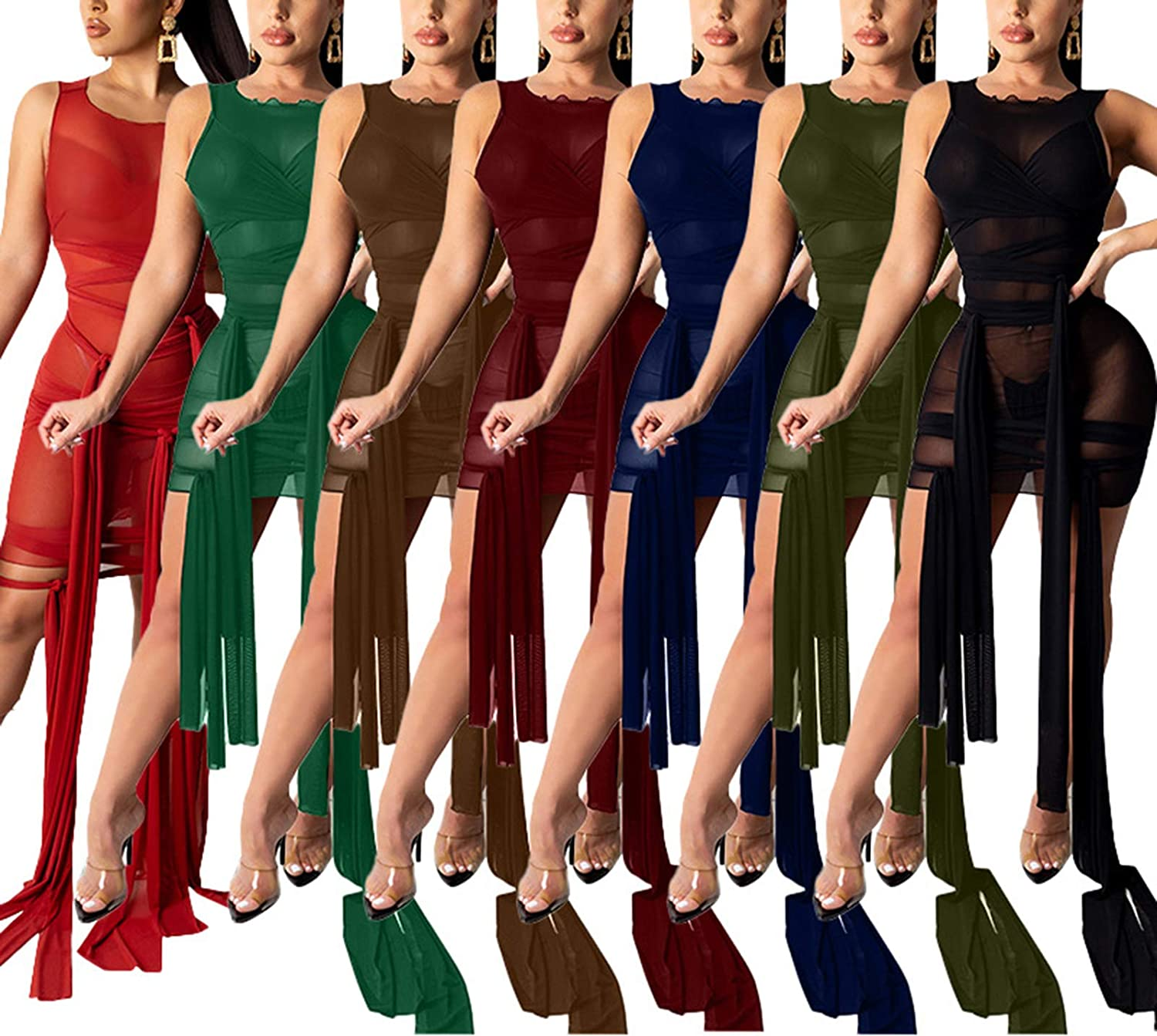 acelyn Womens Sexy Solid Color Sleeveless See Through Sheer Mesh Bandage Dress Bodycon Mini Dress Clubwear