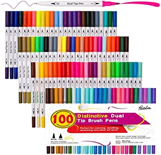 100 Colors Dual Tip Brush Pens with Fineliners Art Markers, Feela Watercolor Dual Brush..