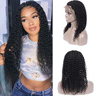 Aodai Hair Kinky Curly Lace Front Wigs 13x4 Lace Part 150% Density Virgin Brazilian Curly Human Hair Wigs Pre Plucked With Natural Color For Black Women(10inch,13 x 4 Lace Front Wig)