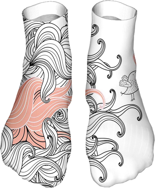 Women's Colorful Patterned Unisex Low Cut/No Show Socks,Graphic Swirls Wave Like Minimalist Pattern with Bird