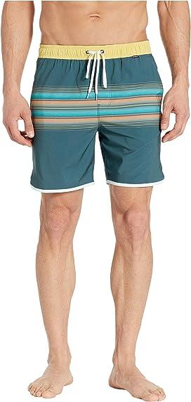c3a1f0f8de Original Penguin Engineered Stripe Non-Stretch Swim Shorts at Zappos.com