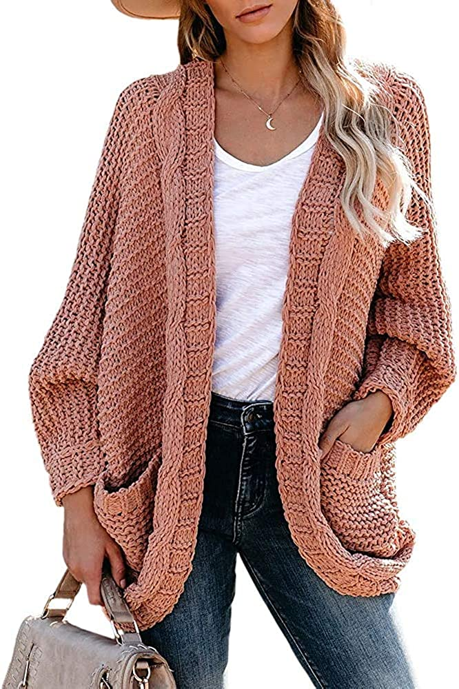 Womens Chunky Knit Open Front Cardigans Plus Size Oversized Batwing Sleeve Loose Slouchy Sweaters Coats with Pockets