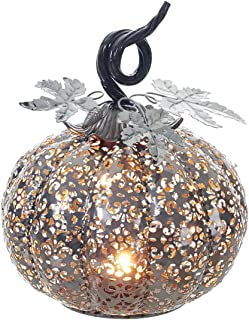 Squat Filigree Pumpkin 8 x 8 inch Metal Cut-out Thanksgiving Tea Light Holder
