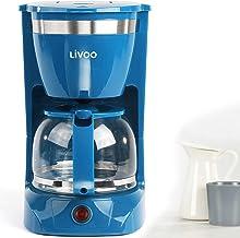 Koffiezetapparaat blauw met glazen kan voor 12 kopjes warmhoudfunctie kegelfilter (koffieautomaat, koffielepel, automatisc...