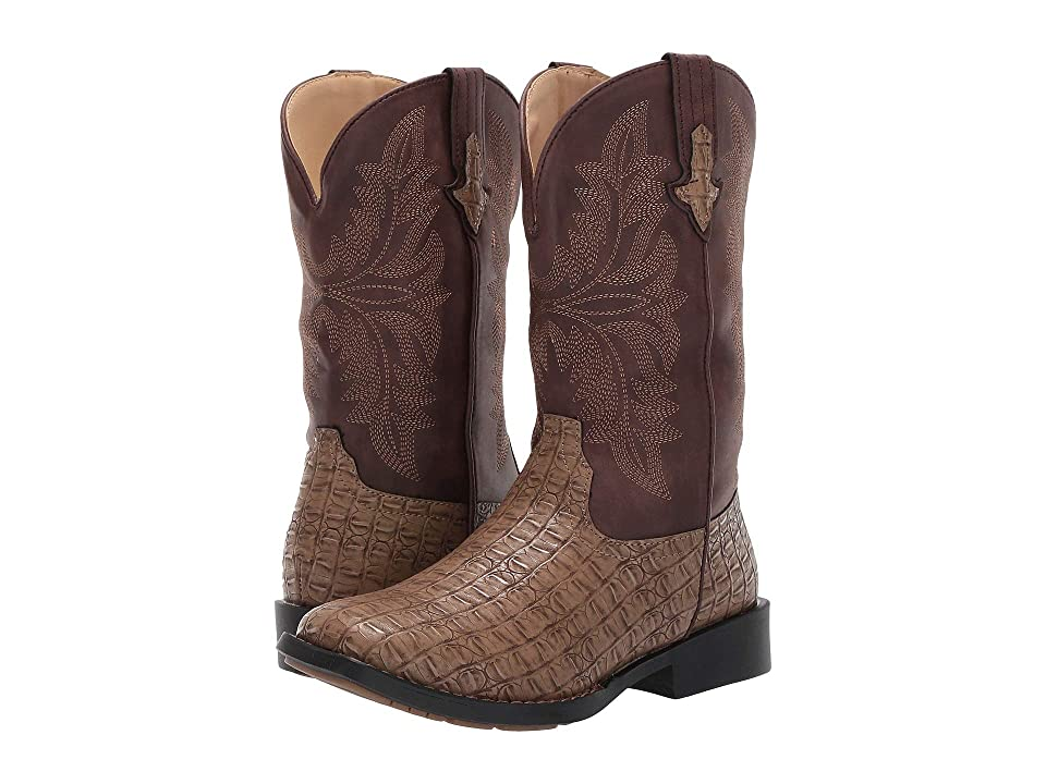 Roper Kids Chomp (Big Kid) (Tan Faux Caiman Vamp/Brown Shaft) Cowboy Boots