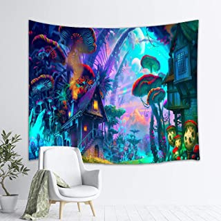 TJFZARTCC Psychedelic Mushroom Tapestry Colorful Surreal Abstract Astral Digital Art Tapestry Magical Forest Tapestries Wall Art for Bedroom Living Room Dorm Decor 50