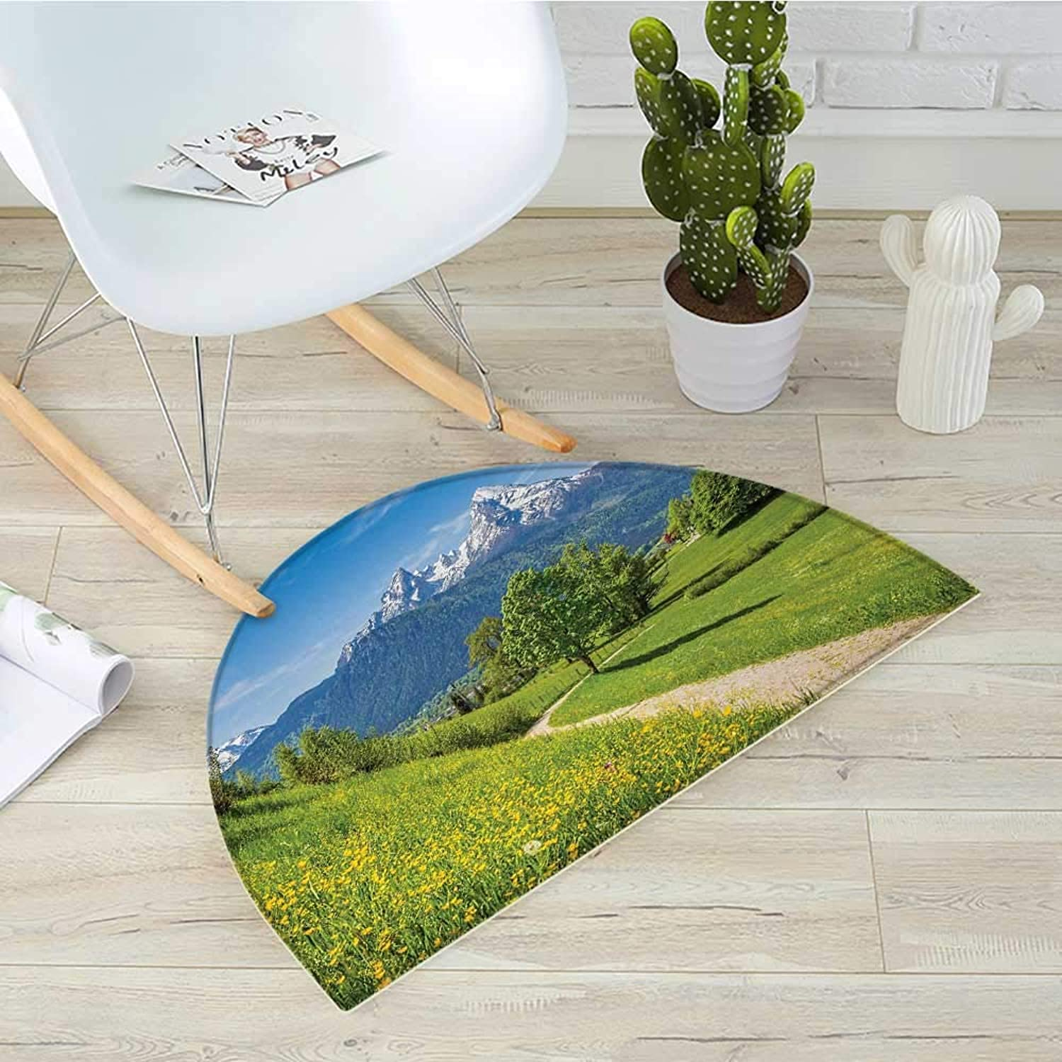 Mountain Semicircular CushionSpring Scenery in Alps with Floral Grass and Snowy Mountain Tops in Rural Village Entry Door Mat H 39.3  xD 59  Multicolor