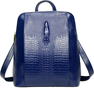 Coolcy New Fashion Casual Women Genuine Leather Backpack Shoulder Bag (Royal Blue)