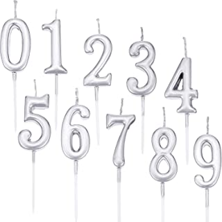 Yaomiao 10 Pieces Birthday Numeral Candles Cake Numeral Candles Number 0-9 Glitter Cake Topper Decoration for Birthday Party Favor (Silver)