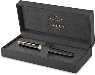 Parker Sonnet Black Lacquer Fountain Pen, Medium Nib, Black Ink