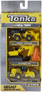 Tonka Real Tough Diecast Construction Crew - 3 Pack (Front Loader, Excavator, and Steam Roller)