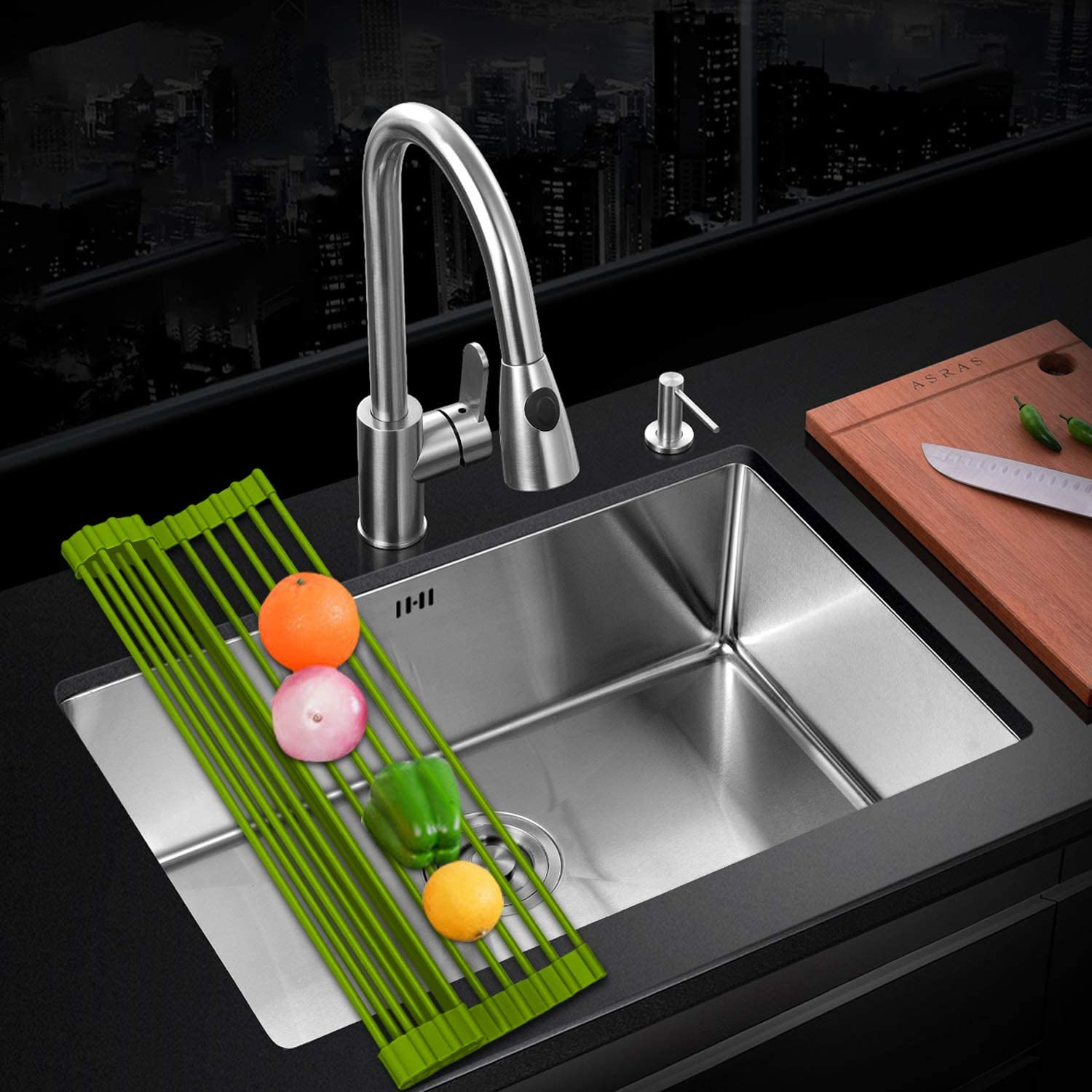 LEASEN Over The Sink Silicone Roll-up Omaha Mall Rack New Shipping Free Shipping Dish Kitchen Drying D