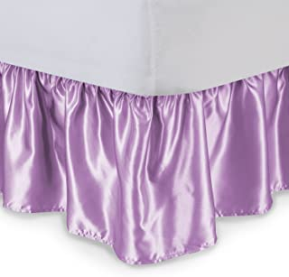 Satin Ruffled Bed Skirt with Platform, Full XL, Lavender, 14