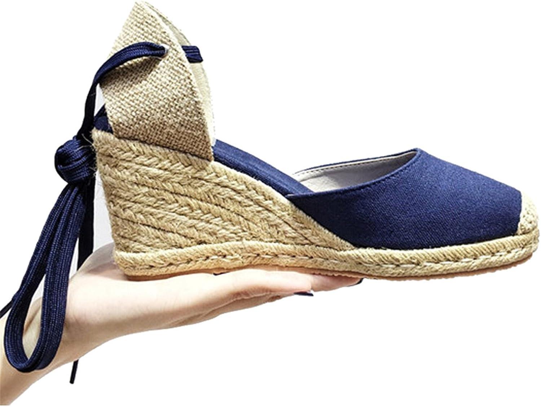 NeeKer shoes Wedge Sandals New Summer Canvas Platform Wedges Fashion Lace up Women Platform Sandals