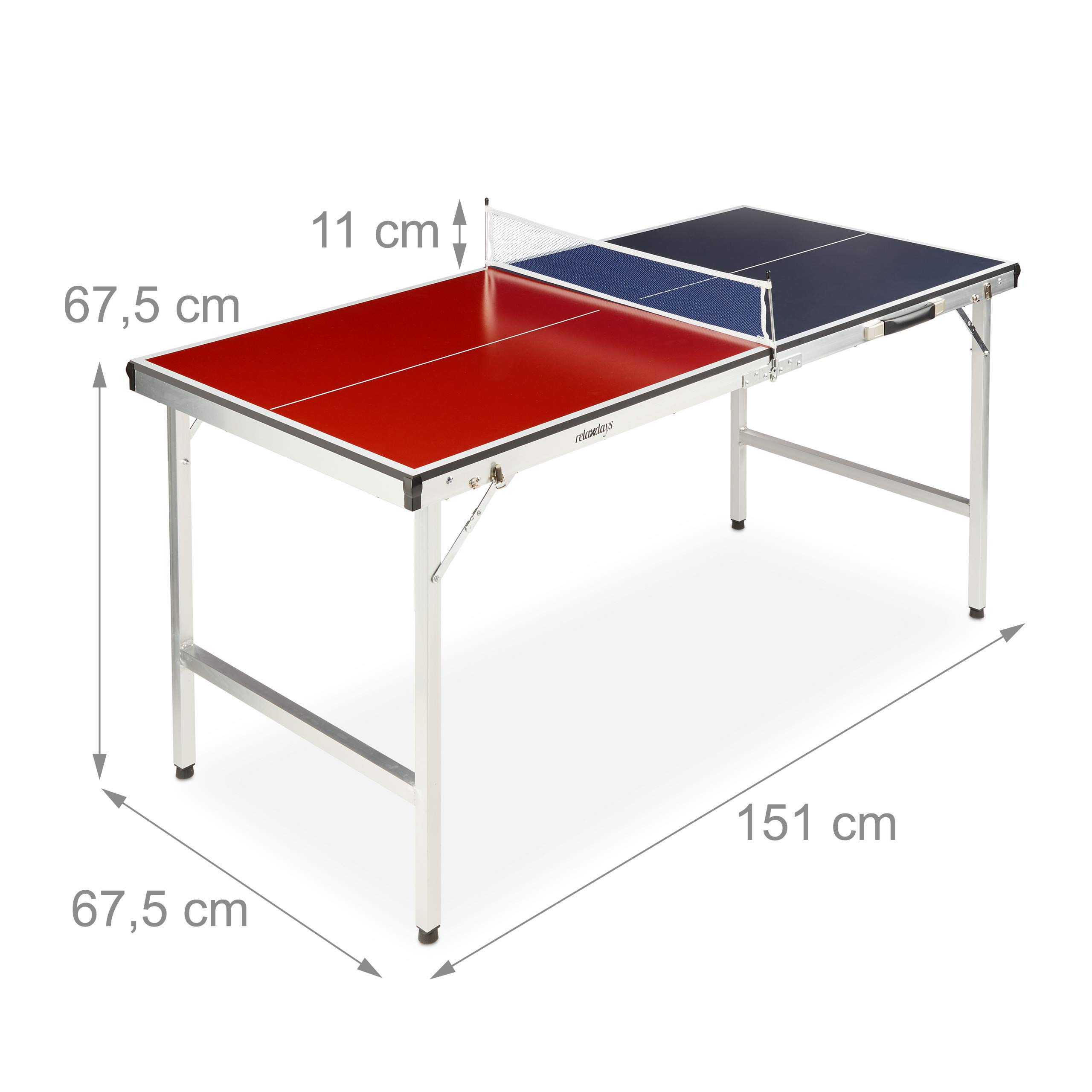 Relaxdays Mesa Ping Pong Plegable, Set con 2 Palas, Red y 3 ...