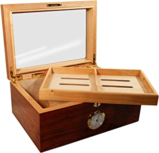 Display Cigar Humidors Presidente Dos Glass Top Rosewood for 100 Cigars