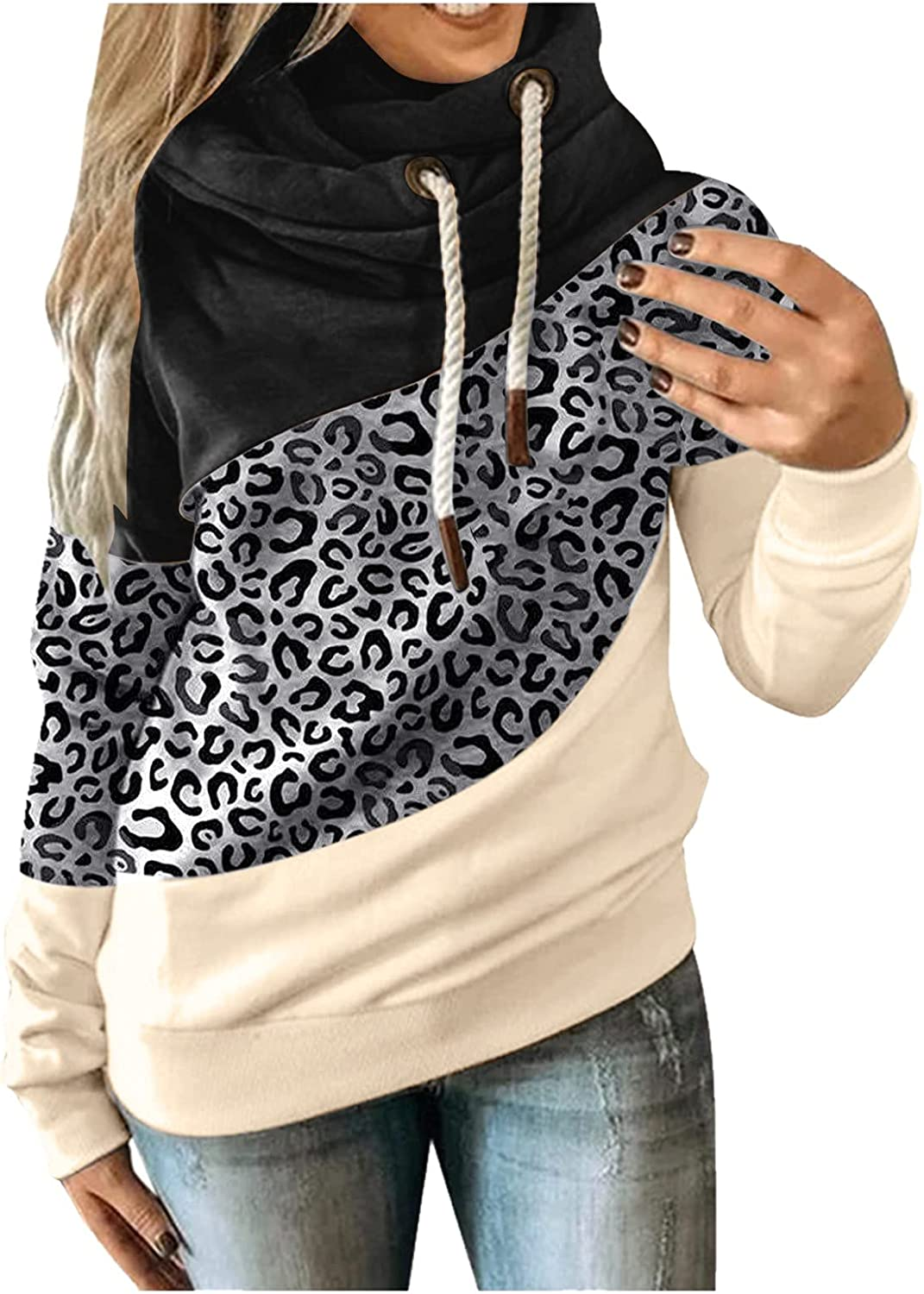 Tunic Sweatshirt for Women Plus Size Casual Long Sleeve Drawstring Hoodie Leopard Graphic Color Block Aesthetic Top Tee