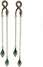 Vintage Green Rhinestone Long Drop Snake Earrings Studs