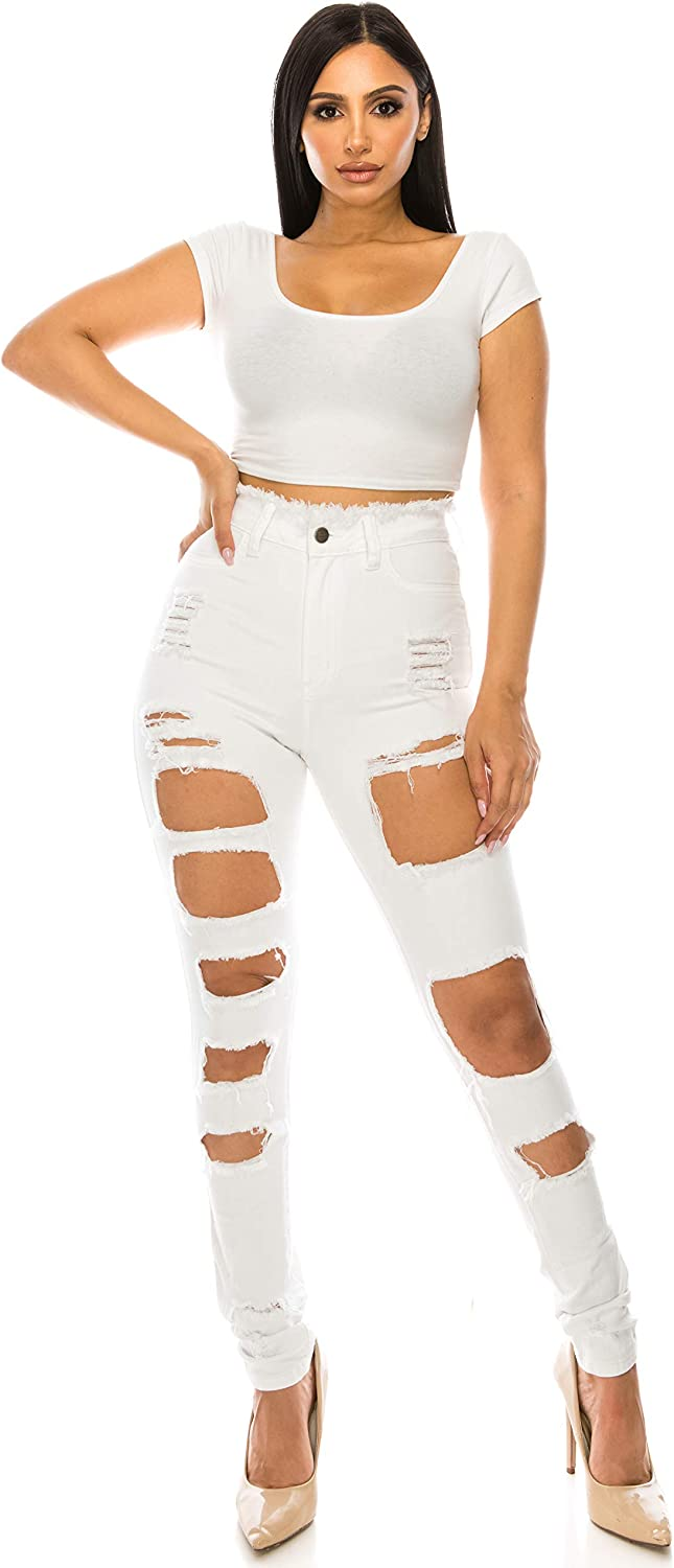 Aphrodite Super High Waisted Jeans for Women - Womens Distressed Ripped Denim Jeans