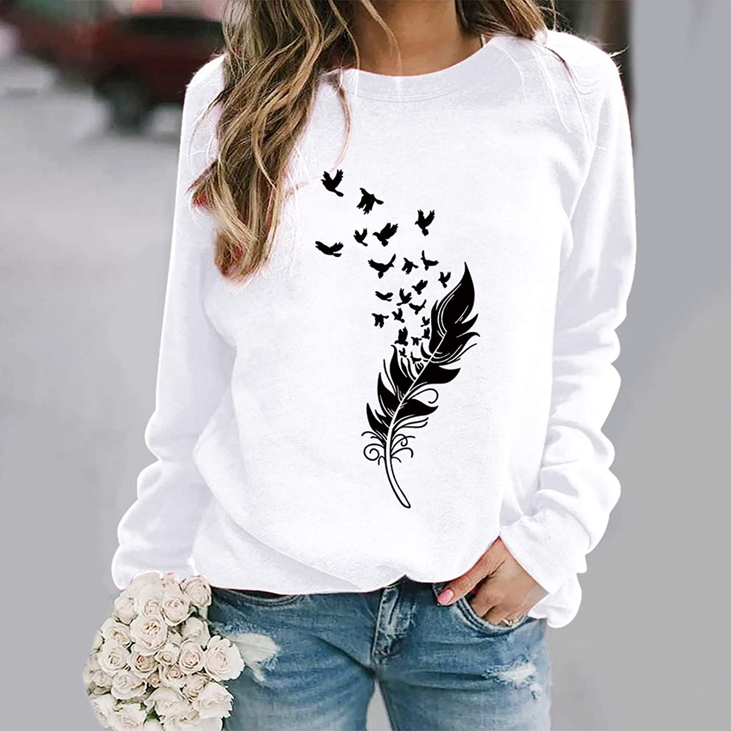Sweatshirts for Women,WomenFeather Print Sweatshirts Tops Long Sleeve Crewneck Tops Plus Size Pullover Shirts