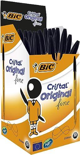 BIC Ecriture Cristal Original Stylos-Bille Pointe Fine (0,8 mm) - Encre De Couleur Noire, Boîte de 50