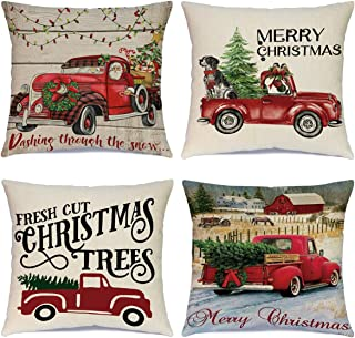 Ueerdand Christmas Pillow Covers 4 Pack Decorative Xmas Christmas Red Truck Tree Throw Pillow Cases Cotton Linen Cushion Covers for Sofa Couch Outdoor Indoor Holiday Decorations 18 x 18 Inches