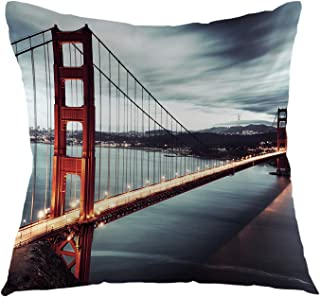 oFloral Bridge Pillow Case Golden Gate Bridge Throw Pillow Cover Square Cushion Cover for Sofa Couch Bedroom Living Room Dorm Decoration 18 x 18 Inch