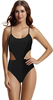 Women's Strappy Cross Back High Waisted One Piece Monokini Bathing Suit