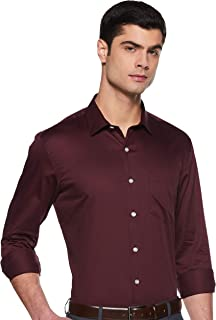 Amazon Brand - Symbol Men's Solid Slim Fit Full Sleeve Cotton Formal Shirt