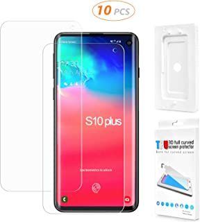 10 Set Galaxy S10 Plus Screen Protector [3D Full Coverage] [Fingerprint ID Friendly] [Case Friendly] [Bubble-Free] Flexible Film HD Screen Protector for Samsung Galaxy S10 Plus with Installation Tray