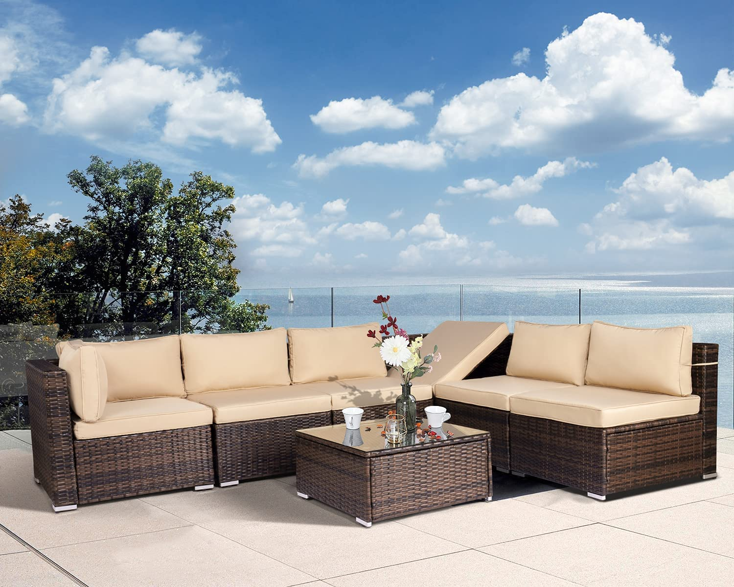 Aoxun Limited Special Price 7 Pieces High material Outdoor Sectional Sofa Wicker Set PE All-Weather
