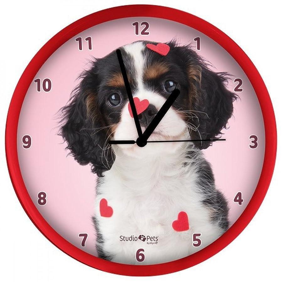 バイパスフェリー楽しむキャバリア 子犬 犬 掛け時計 直径25cm ウォールクロック Wall Clock 3105 [並行輸入品]