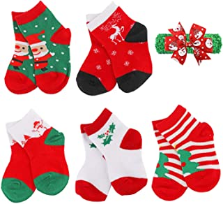 Baby Toddler Kids Christmas Socks Boys Girls Cute Fuzzy Children Christmas Socks 5 Pairs