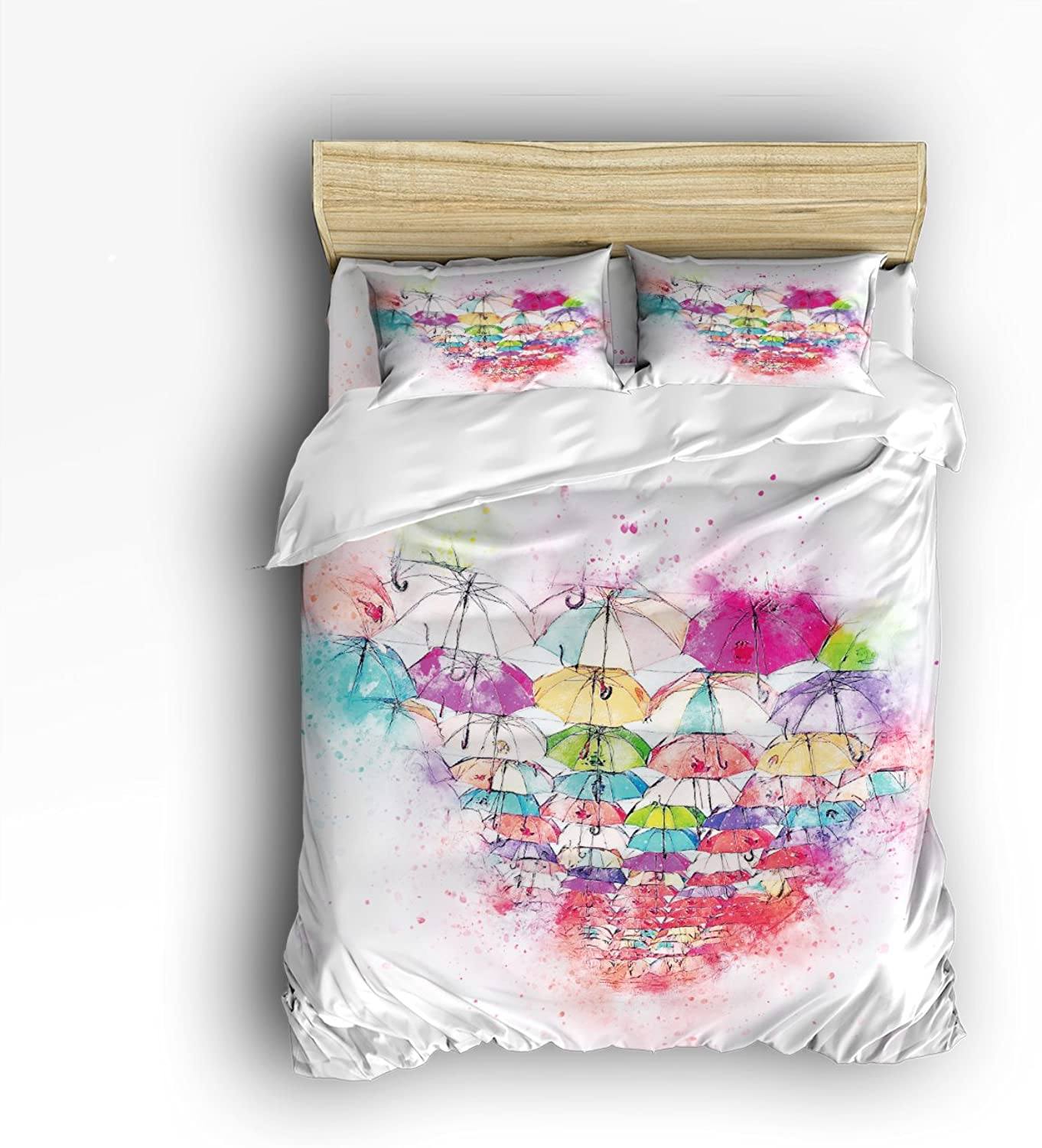 Libaoge 4 Piece Bed Sheets Set, colorful Umbrellas Watercolor Print, 1 Flat Sheet 1 Duvet Cover and 2 Pillow Cases
