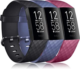 TreasureMax Sport Bands for Fitbit Charge 3// Fitbit Charge 4// Charge 3 SE Women Men Floral Fadeless Waterproof Silicone Replacement Wristbands for Fitbit Charge 3 SE and Fitbit Charge 4 Small Large