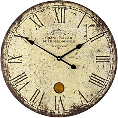 Imax 2511 Large Wall Clock with Pendulum – Vintage Style Round Wall Clock, Wall Decor for Kitchen, Office, Retro Timepiece. H