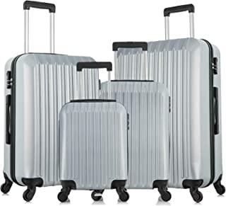 """4 Piece Luggage sets with Spinner Wheels Travel Suitcase Hard-shell Lightweight 16"""" 20"""" 24"""" 28"""" (4 PCS LM Silver White)"""