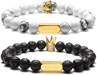 Free Engraving - Personalized Custom Engraved Name Stainless Steel ID Bracelet King and Queen Crown Turquoise Lava Stone Diffuser Distance Couples Bracelets His and Hers