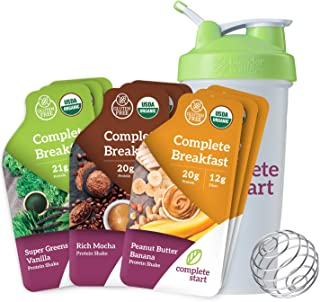 Complete Start Meal Replacement Shake | Gluten Free Weight Loss, Breakfast Nutritional Supplement | USDA Organic, Dairy Free, Non-GMO, Vegan, Plant-Based Whole Foods | Bonus Shaker Bottle
