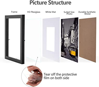 eletecpro 8x10 Picture Frames Set of 10, Display 4x6 or 5x7 Photo Frame with Mat or 8x10 Without Mat, Wall Gallery Photo Fram