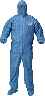 Kleenguard Chemical Resistant Suit, A60 Bloodborne Pathogen & Chemical Splash Protection Coveralls (45096), with Hood, Size 3X Extra Large (3XL), Blue, 20 Garments / Case