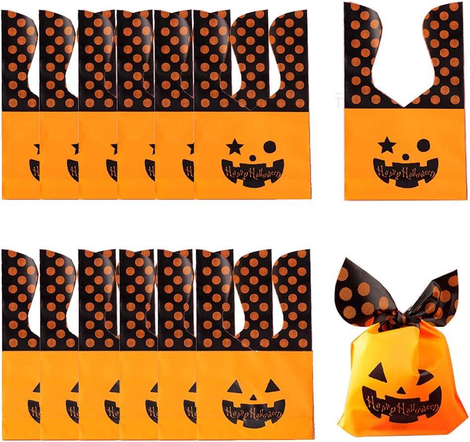 50pcs Max 50% OFF Halloween Candy Bag Pumpkin Genuine Treats for Ghost Cookies Bags
