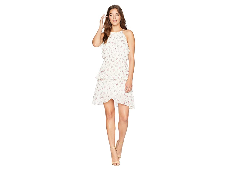 J.O.A. Ruched Neck Double Layered Dress (Cream Floral) Women