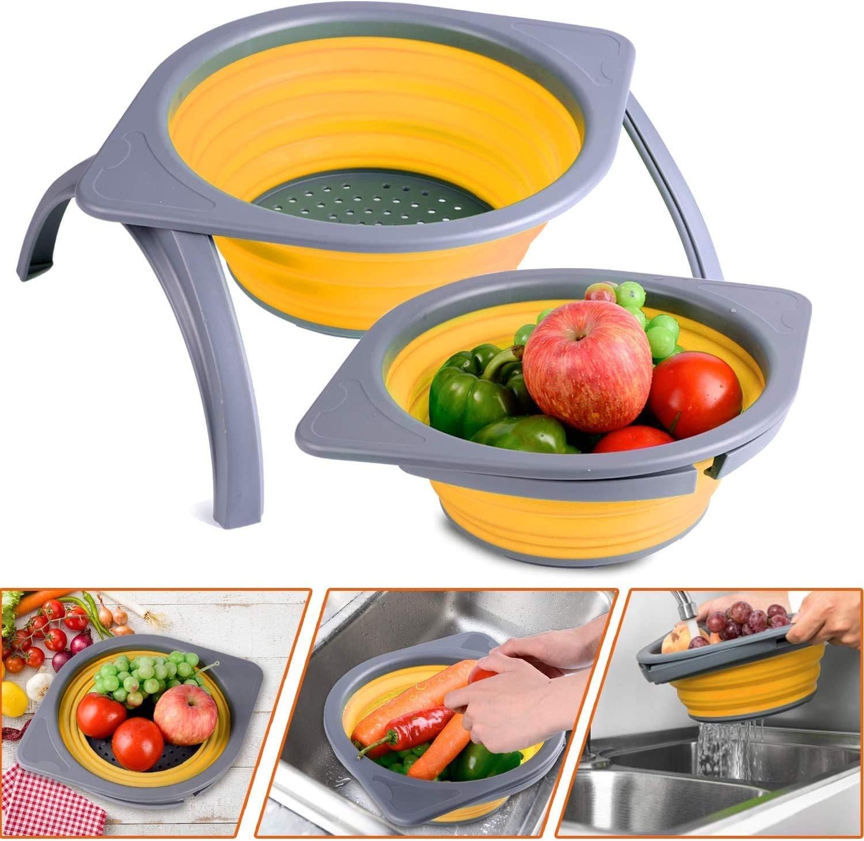 Colador colador plegable DLD, cesta de drenaje para frutas y verduras, red de soporte duradera plegable que ahorra espacio, para platos de cocina, ...