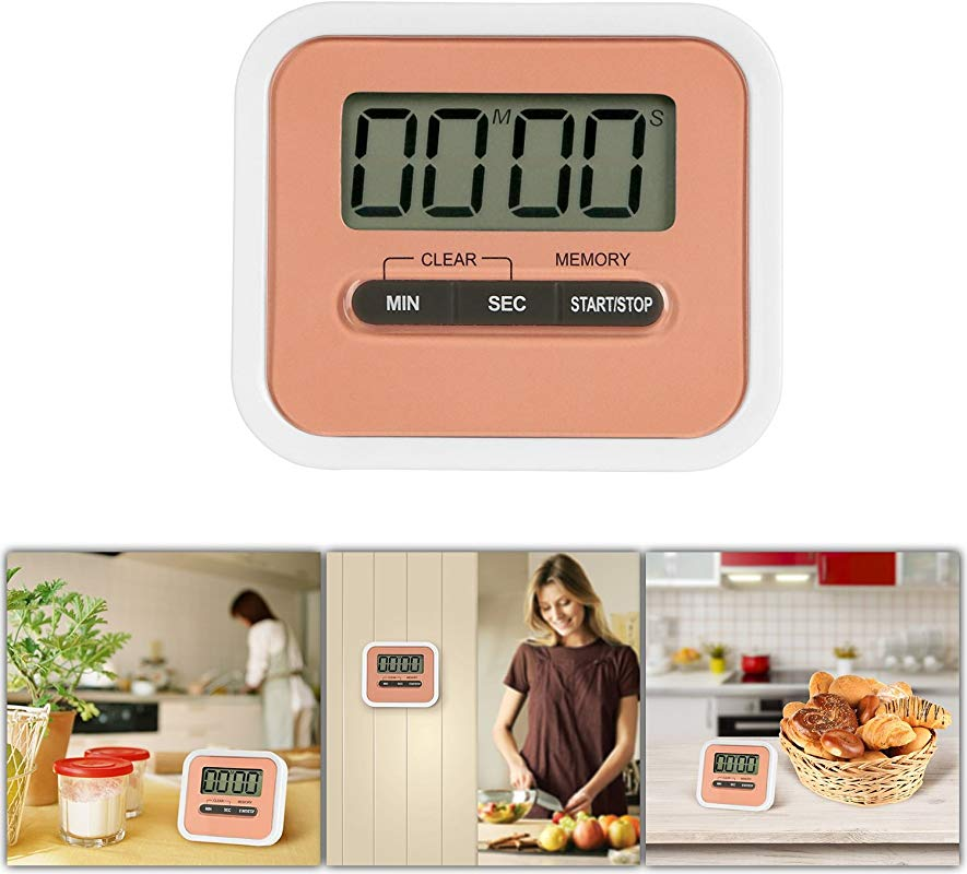 GPCT Mini Digital Kitchen Cooking Timer W Loud Alarm Built In Speaker LCD Display Countdown Count Up Timer Time Memory Recall Function Magnetic Retractable Stand Portable Timer Pink