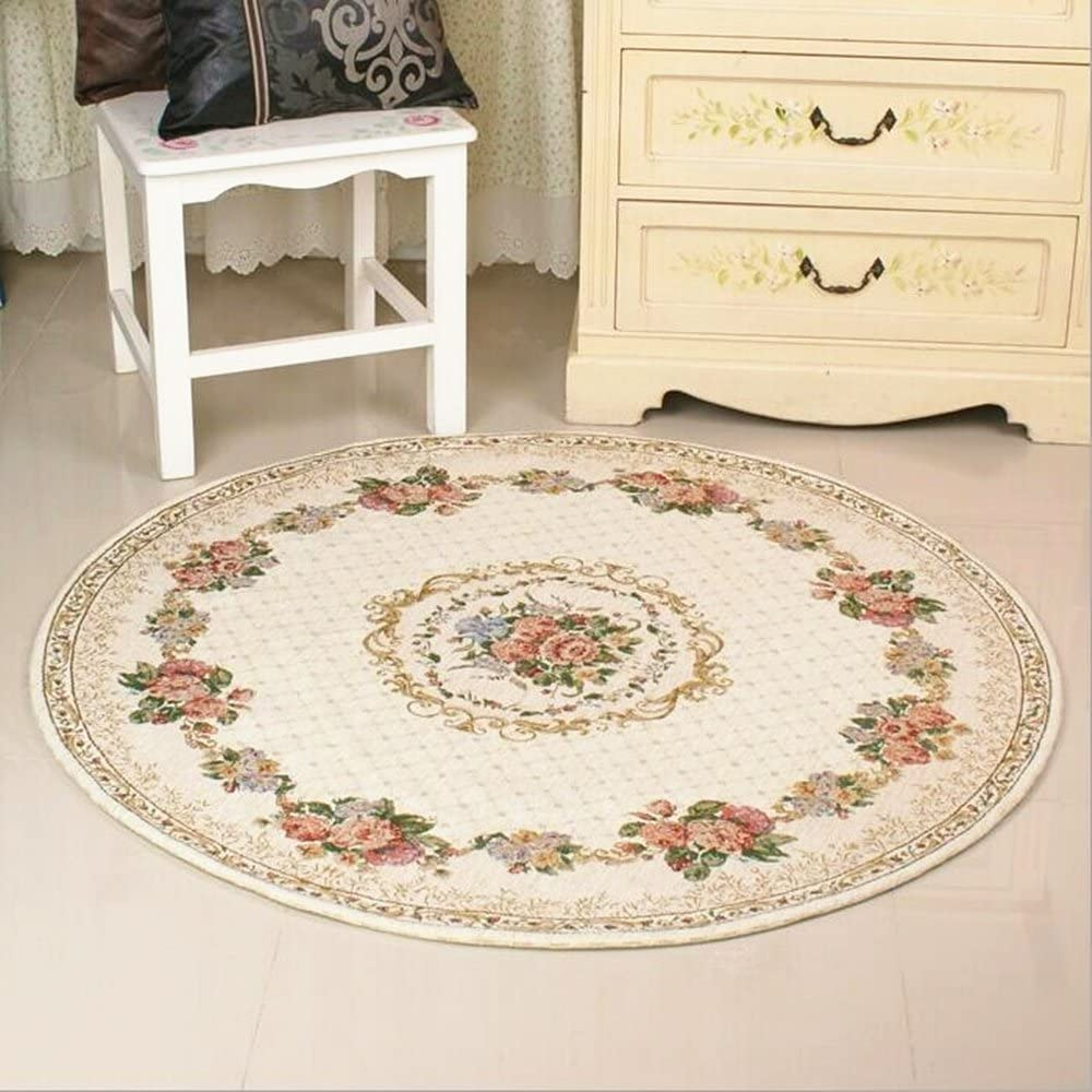 Ukeler Luxury Soft Rustic Floral Round Rugs Area Roo for Dinning Rare Superior